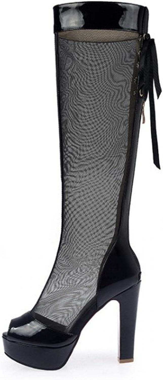YU&Xin-Summer net Yarn high Barrel Cold Fish Mouth high-Heeled Boots, shoes