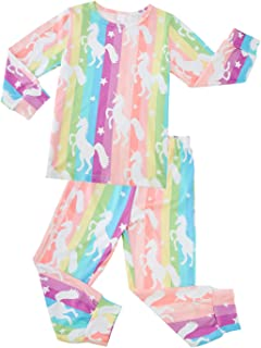 Kids & Toddler Long Sleeve Pajamas Sets 3D Printed Soft Snug Fit Sleepwear for 2-9Y Girls