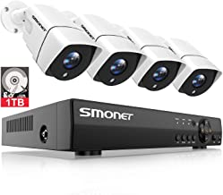 SMONET 1080P Security Cameras Systems,4CH Full HD DVR Home Surveillance System(1TB Hard Drive),4pcs 2.0 MP Indoor Outdoor CCTV Cameras,Night Vision,Waterproof,Plug&Plug,Easy Remote View,Free APP