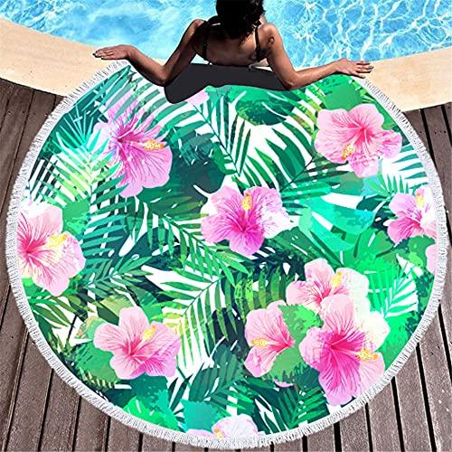 Redondea Aproximadamente 150x150cm Rayas en Blanco y Negro Planta Tropical Fibra Ultrafina con Toalla de baño de Playa de Soda-C5 Super Absorbente y Toallas de natación