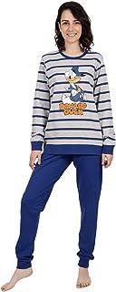 Disney- Pijama Mujer Pato Donald Manga Larga Gris