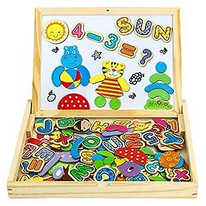 Letras Magneticas Niños Pizarra Magnética Infantil 90 Piezas Tablero Magnético de Dibujo de Madera de Doble Cara Rompecabezas Juguetes Educativos para Niños (Número y Letra)