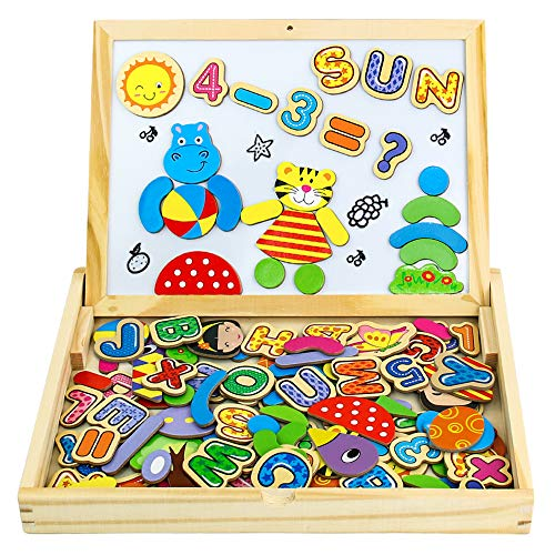 Yixin Pädagogisches Holzspielzeug 90 Stück Magnetische Holzpuzzle Lernspielzeug Kühlschrank Dekoration Montessori Spielzeug Puzzle aus Holz Geschenk für Junge Mädchen Kinder ab 3 4 5 Jahre