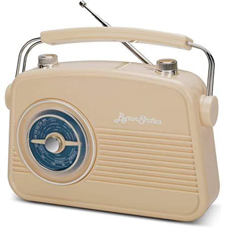 Byron Statics Portable Radio AM FM, Vintage Retro Radio Radio with Built in Speakers, Best Reception and Longest Lasting, Power Plug or 1.5V AA Battery (Cream)