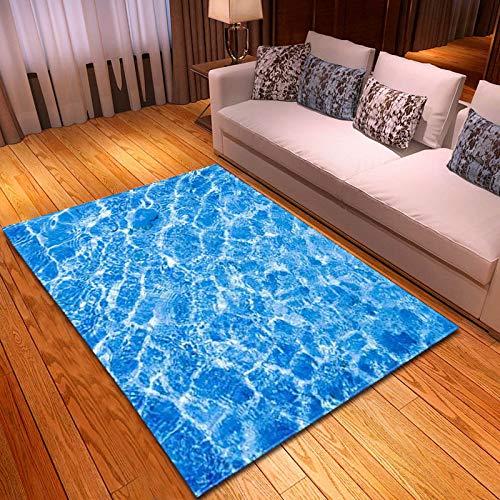 Alfombra,Suave Terciopelo Área Rugs Blue Water Ripple Impreso Gran Antideslizante Interior Tirar Al Aire Libre Alfombras De Piso De Patrón Creativo para Dormitorio Sala De Estar Vivero DEC