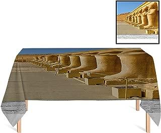 SATVSHOP Tablecloth Heavyweight /60x120 Rectangular,Pillar The Facade of Hatshephut Temple Rated with The Osirian Statues ES Earth Yellow.for Wedding/Banquet/Restaurant.