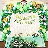 Romiee Giungla Decorazioni di Compleanno Party Ragazzi-144 PCS con Happy Banner di Compleanno con Foglie di Palma Palloncini in Lattice e Safari Forest Animal