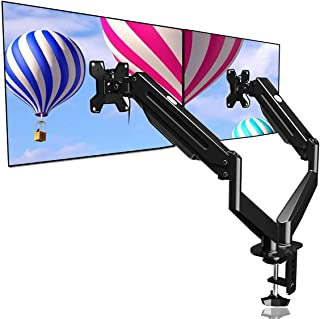 Suptek Dual Monitor Mount Stand-Height Adjustable Gas Spring Monitor Arm Desk Mount for 2 Computer Screens 17 to 27 inches...
