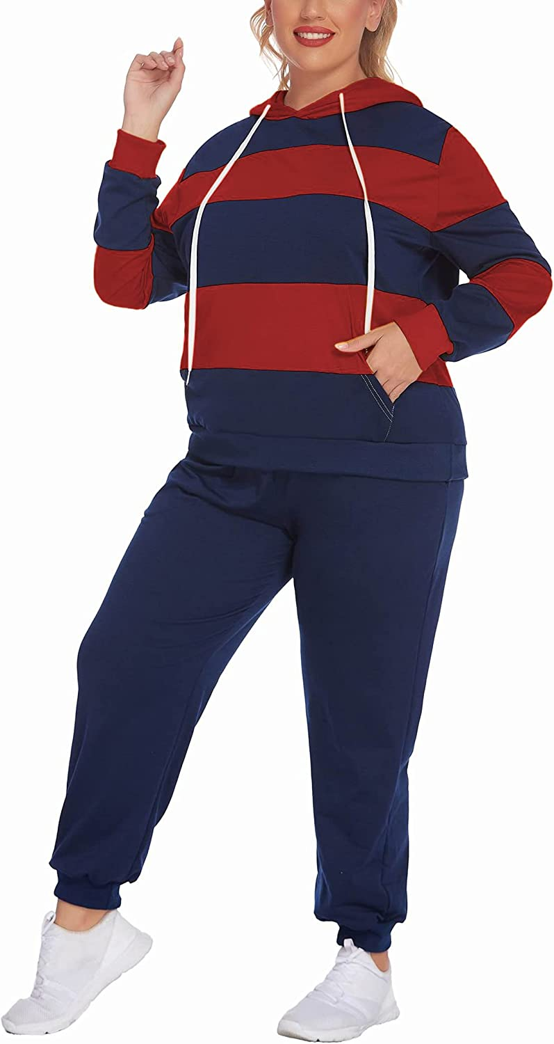 IN'VOLAND Women's Plus Size Tracksuit 2 Piece Hoodie Set Pullover Sweatsuits Long Sleeve Jogger Outfits with Pocket