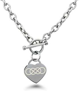 Stainless Steel Double Infinity Symbol Engraved Heart Charm Bracelet and Necklace
