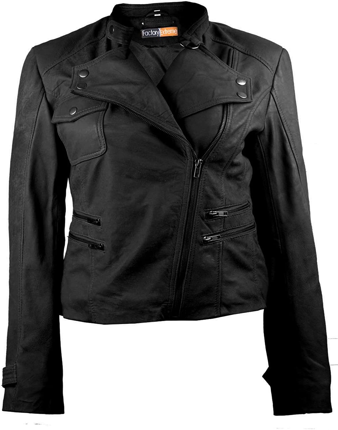 FactoryExtreme FE Brando Moto Biker Leather Jacket Women in Black Tan   Distressed Stylish Real Racer Style Coat