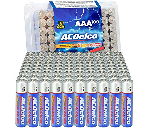 ACDelco 100-Count AAA Batteries, Maximum Power Super Alkaline Battery, 10-Year Shelf Life, Recloseable Packaging