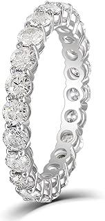 Solid 10K White Gold 1.6CTW 2.5mm G-H-I Color Moissanite Eternity Engagement Ring Wedding Band for Women