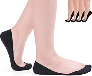Flammi 4 Pairs Women's TRULY No Show Ultra Low Cut Liner Socks Non Slip Summer Invisible Cotton Socks for Flats High Heels