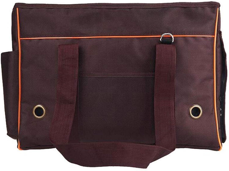 HAO SHOP Stripe Pet Travel Bag Dog Backpack Out Carrying Bag Pet Bag Portable Pet Bag, Brown (Size   49  20  35cm)