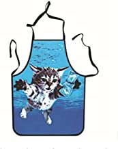 Apron Designs Painted Apron Cat Printed Apron for Home Cooking (Blue)