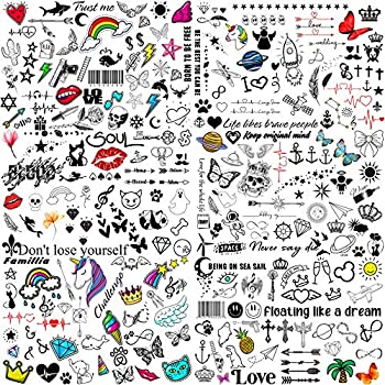 VANTATY 6 Sheets Cute Temporary Tattoos For Kids Boys Girls Waterproof Fake Tattoo Sticker For Women Men Face Neck Arm Children Birthday Party Favors Supplies Decoration Tatoos Kits Sets Accessories