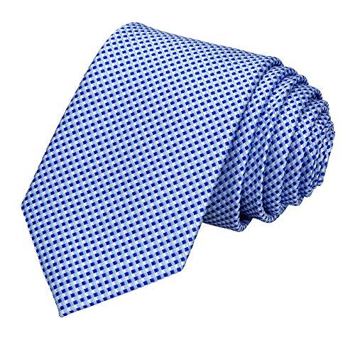 GASSANI Schmale Herren-Krawatte Hell-Blaue Weisse Vichy Karo-Muster, Skinny Slim Dünne Karierte Hochzeitskrawatte Herrenschlips, Moderne Breite 7cm