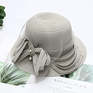 SHENTIANWEI 2019 New European and American Fashion hat Female Summer Sun Network Shamao Foldable Flower Pot hat Wide-Brimmed hat (Color : Grey, Size : Adjustable)