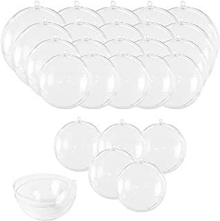Clear Fillable Ornaments Ball, 25 PCS Transparent Plasti Craft Ornament Balls 5 Different Sizes for DIY Bath Bomb Mold Set and Party Decor