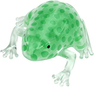 Glorrt Novelty 8cm Bead Stress Ball Sticky Squeeze Frogs Squeezing Stress Relief Toy (Green)
