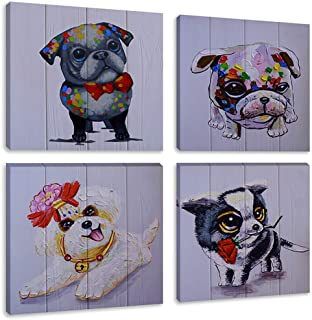 Animal Cartoon Print Oil Painting Dog Puppy Canvas Wall Art for Kids Room Nursery Decor Contemporary Picture, Framed Black White 12x12 Inches Set of 4