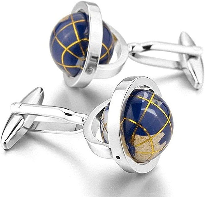 Da StationeryBurst Spins Davvero placcati Rhodium blu della terra del globo gemelli per gli uomini