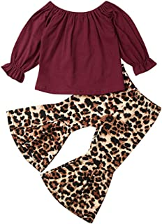 DuAnyozu Fall Winter Toddler Baby Girls Clothes Ruffle Off The Shoulder Top Blouse+Leopard Flared Pants Outfits Set (3-4 Years, Red Shirt & Leopard Print Bell Bottoms)