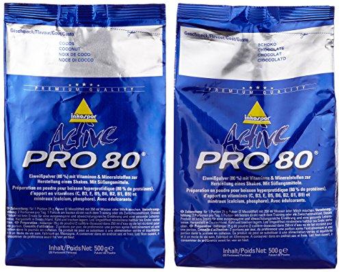 Inkospor Active Proteinshake Pro 80 Beutel 2er Mix Pack (2 x 500 g) Schoko/Cocos, 1er Pack (1 x 1 kg)