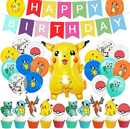 BESTZY Pokémon Decoraciones de Cumpleaños Pikachu Fiesta Temáticos Happy Birthday Banner Cake Topper Pokémon Globos de Látex Suministros Fiesta para Niños 30 Piezas