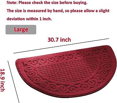 Olpchee Half Round Non-Slip Kitchen Bedroom Toilet Doormat Floor Rug Mat Keeps Your Floors Clean Decorative Design (Large, Bl