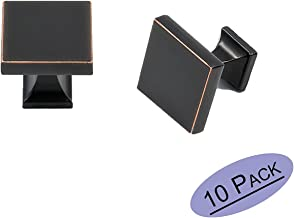 Oil Rubbed Bronze Square Solid Cabinet Konbs - Goldenwarm LS6785ORB 1.1 inch Width Zinc Alloy Kitchen and Bathroom Dresser Knobs for Modern Cabinet Hardware 10 Pack