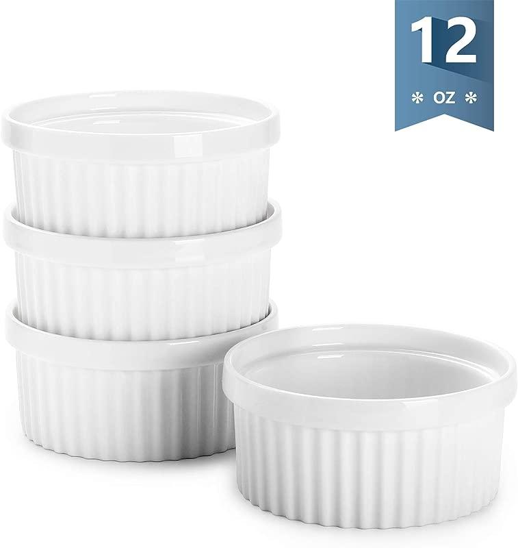 Sweese 503 101 Porcelain Ramekins For Baking 12 Ounce Souffle Dish Set Of 4 White