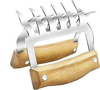 2 garras para carne, garras para triturar carne, garras para carne de acero inoxidable con mango de madera antideslizante ...