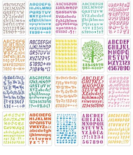Hillento 20 piezas alfabeto plantillas establecen, plantillas de letras de plástico para pintar el aprendizaje, la decoración del arte de DIY