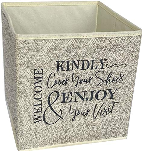 Real Estate Booties Box - Stylish Shoe Cover Holder that asks Guests to Cover Shoes. Fill w/ Disposable Shoe Covers. Real Estate Agent Supplies & Realtor Open House Supplies. 11 X 10.5' Indoor Bin. Beige.