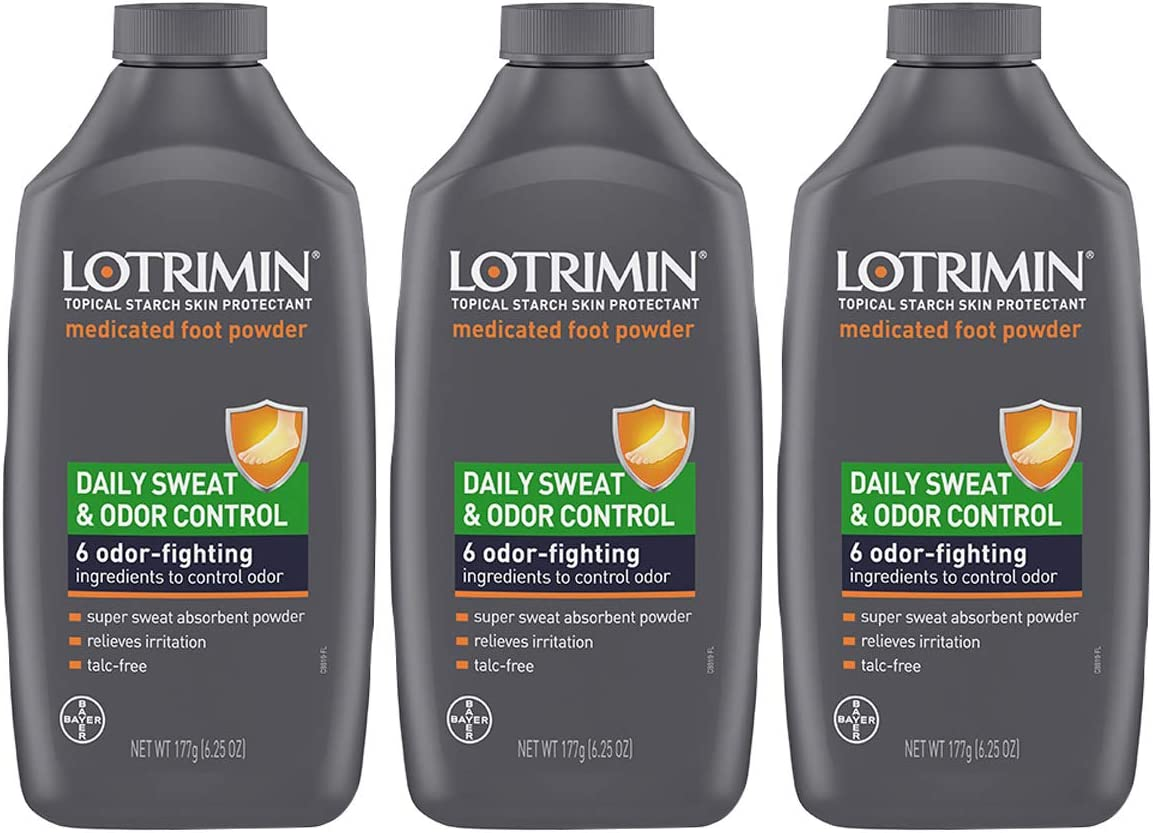 Lotrimin Daily Sweat & Odor Control Medicated Foot Powder, Topical Starch Skin Protectant, 6 Odor-Fighting Ingredients to Control Odor, 6.25 Ounce (177 Grams) Bottle (Pack of 3): Health & Personal Care