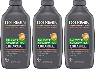 Lotrimin Daily Sweat & Odor Control Medicated Foot Powder, Topical Starch Skin Protectant, 6 Odor-Fighting Ingredients to ...