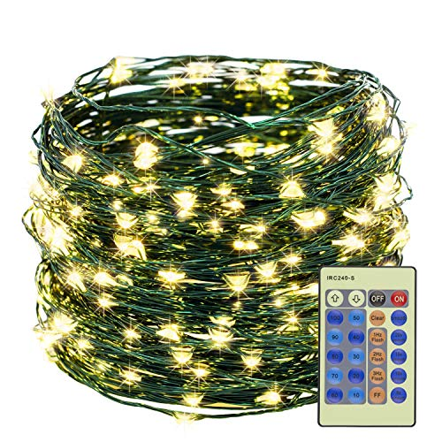 Decute 300LED Christmas Tree String Lights Warm White 99FT Green Wire Dimmable with Remote Control, UL Cerficated Plug in Fairy Starry Lights Decorative for Christmas Tree Party Wedding Indoor Outdoor