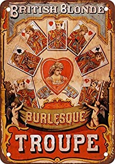 Puernash British Blonde Burlesque Troupe 8 X 12In. Tin Sign Wall Sign for Home Bathroom and Cafe Bar Pub, Wall Decor