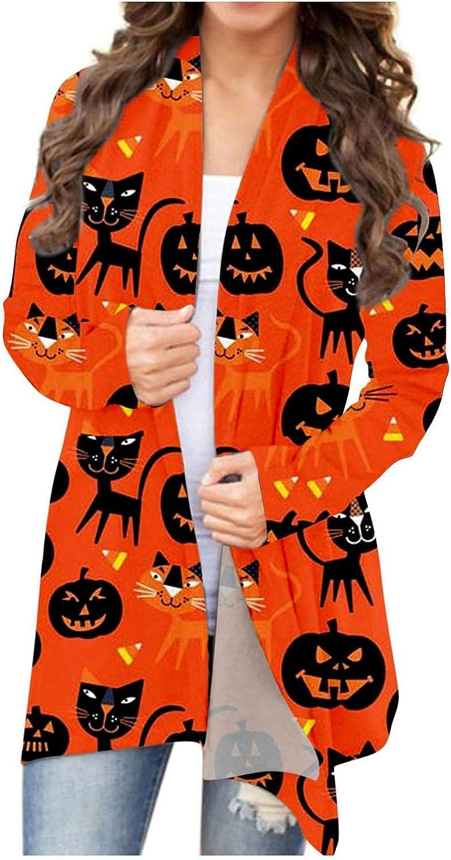 AODONG Halloween Cardigan for Women,Womens Lightweight Pumpkin Print Graphic Coat Long Sleeve Open Front Knitt Cardigans