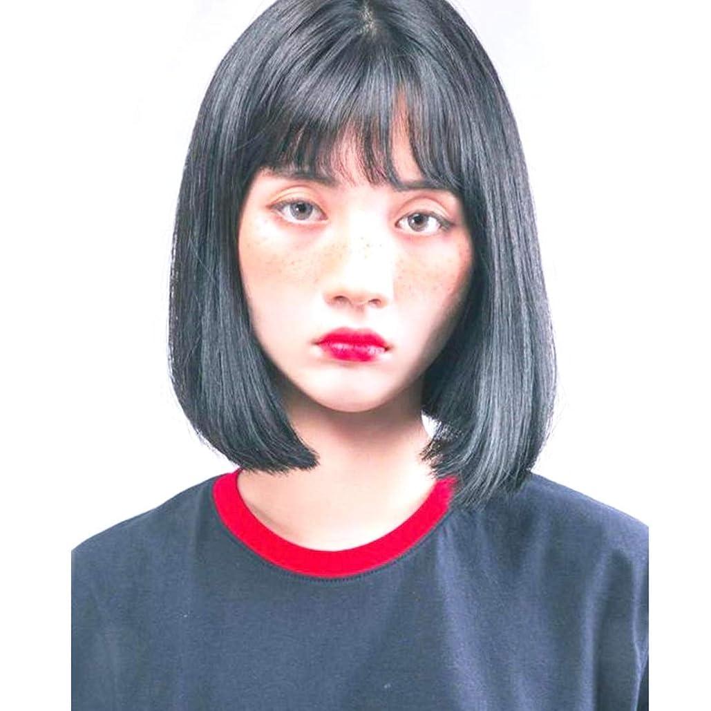 オリエンテーション鉄港Summerys ボブウィッグショートストレート人工毛髪前髪自然に見える女性用耐熱性