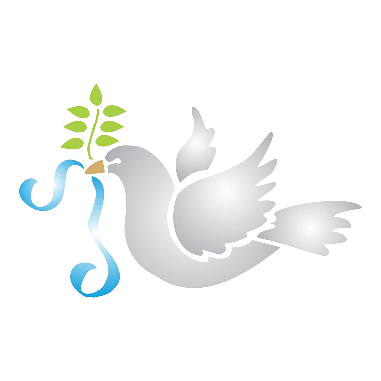 """Dove of Peace (size 5""""w x 3.25""""h) - Reusable Christmas Peace Dove Olive Branch Stencils for Painting - Use on Paper Projects Scrapbook Journal Walls Floors Fabric Furniture Glass Wood etc."""