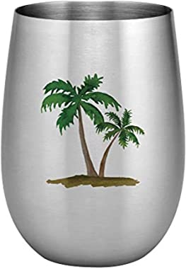 Supreme 18/8 Stainless Steel 20 oz. Full Color Printed Stemless Wine Glass (Palm Trees)