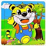 Feigner Kids Cartoon de madera 9 rebanadas estéreo memoria Cognition Puzzle educativo temprano, rompecabezas clásico juegos educativos juguetes para niñas niños, Halloween