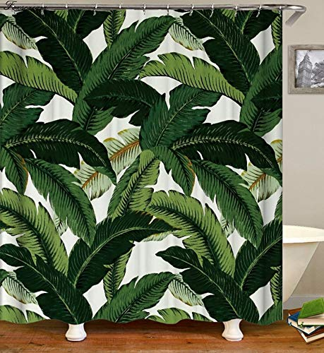 N / A Rideau de Douche Tropical 3D Vert Rideau de Douche Tissu de Douche Rideau de Douche Famille imperméable et résistant à la moisissure Rideau de Douche A16 90x180 cm