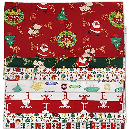 Myhozee 8pcs 20 x 20 Inch Christmas Fabric, Fat Quarter Quilting Cotton Fabric Bundles for Sewing Mask + Shirts + Clothes + Bag & Christmas DIY Quilting