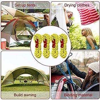 4 Pièces Cordes pour Tente Réfléchissante, Corde de Tente Réfléchissante, avec Réglage, Il Est Très Approprié pour Le Camping en Plein Air, La Randonnée, l'Auvent, La Tente, Etc