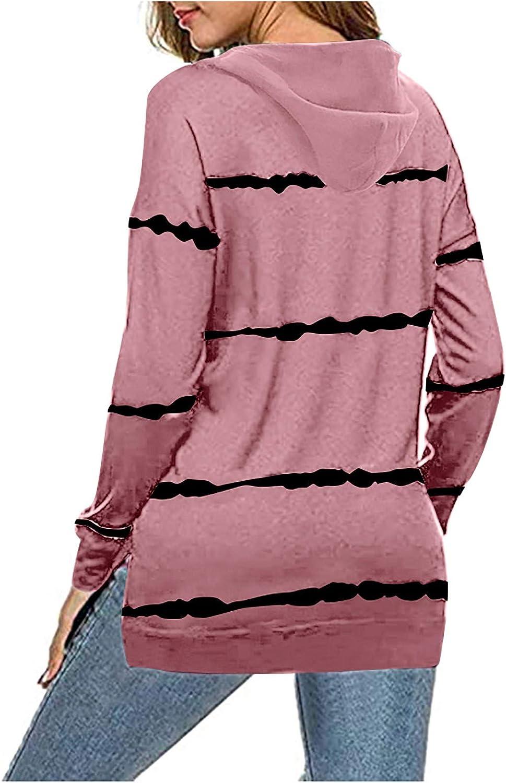 Fannyfuny Damen Gestreift Pulli Sweatshirts Hoodie Sport Langarm Reißverschluss Pullover Outerwear Lose T-Shirt Tops Pink
