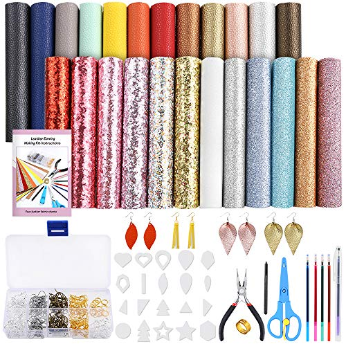 PP OPOUNT 24 Pieces Leather Earring Making Kit Include Instructions, Templates, 4 Kinds of Faux Leather Sheets and Tools for Making Leather Earrings, Bows and Crafts